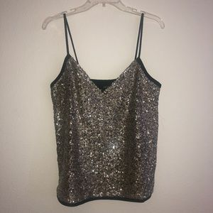Mango Sequin Top, Sparkle in gold US S